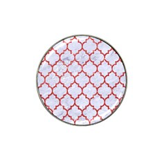 Tile1 White Marble & Red Glitter (r) Hat Clip Ball Marker by trendistuff