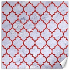 Tile1 White Marble & Red Glitter (r) Canvas 12  X 12   by trendistuff