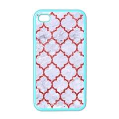 Tile1 White Marble & Red Glitter (r) Apple Iphone 4 Case (color) by trendistuff