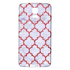 Tile1 White Marble & Red Glitter (r) Samsung Galaxy S5 Back Case (white) by trendistuff