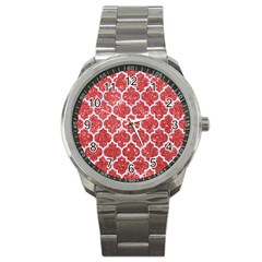 Tile1 White Marble & Red Glitter Sport Metal Watch by trendistuff