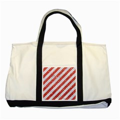 Stripes3 White Marble & Red Glitter (r) Two Tone Tote Bag by trendistuff