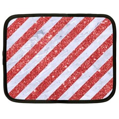 Stripes3 White Marble & Red Glitter (r) Netbook Case (xxl)  by trendistuff