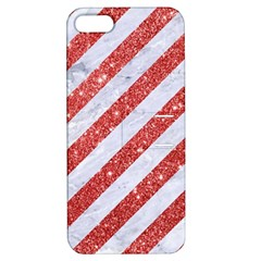 Stripes3 White Marble & Red Glitter (r) Apple Iphone 5 Hardshell Case With Stand by trendistuff