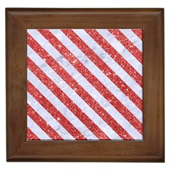 Stripes3 White Marble & Red Glitter White Marble & Red Glitter Framed Tiles by trendistuff