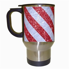 Stripes3 White Marble & Red Glitter White Marble & Red Glitter Travel Mugs (white) by trendistuff
