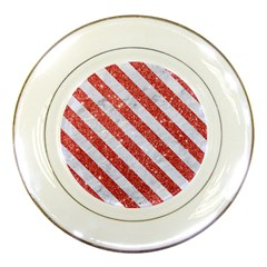 Stripes3 White Marble & Red Glitter White Marble & Red Glitter Porcelain Plates by trendistuff