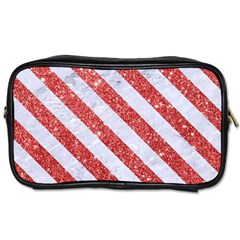 Stripes3 White Marble & Red Glitter White Marble & Red Glitter Toiletries Bags by trendistuff