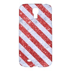 Stripes3 White Marble & Red Glitter White Marble & Red Glitter Samsung Galaxy S4 I9500/i9505 Hardshell Case by trendistuff