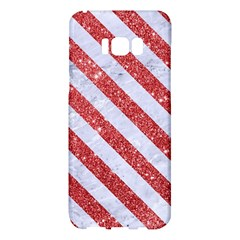 Stripes3 White Marble & Red Glitter White Marble & Red Glitter Samsung Galaxy S8 Plus Hardshell Case  by trendistuff