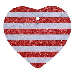 Stripes2white Marble & Red Glitter Ornament (heart) by trendistuff