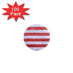 Stripes2white Marble & Red Glitter 1  Mini Magnets (100 Pack)  by trendistuff