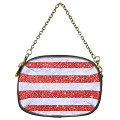 Stripes2white Marble & Red Glitter Chain Purses (two Sides)  by trendistuff