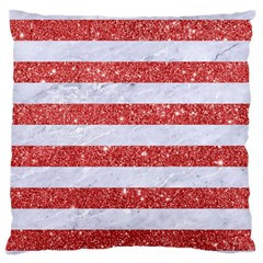 Stripes2white Marble & Red Glitter Large Flano Cushion Case (one Side) by trendistuff