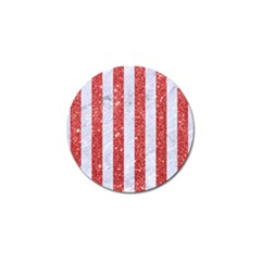 Stripes1 White Marble & Red Glitterstripes1 White Marble & Red Glitter Golf Ball Marker by trendistuff