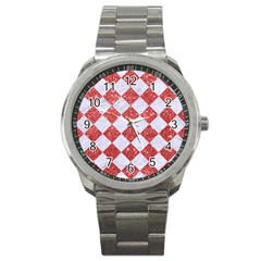 Square2 White Marble & Red Glitter Sport Metal Watch by trendistuff