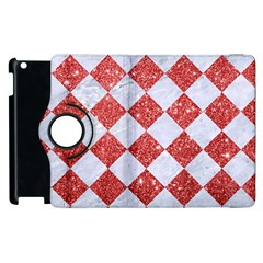 Square2 White Marble & Red Glitter Apple Ipad 2 Flip 360 Case by trendistuff