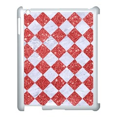 Square2 White Marble & Red Glitter Apple Ipad 3/4 Case (white) by trendistuff