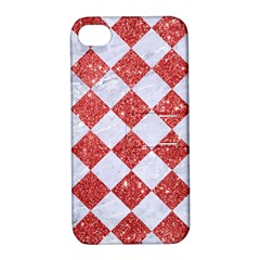 Square2 White Marble & Red Glitter Apple Iphone 4/4s Hardshell Case With Stand by trendistuff