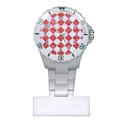 Square2 White Marble & Red Glitter Plastic Nurses Watch by trendistuff