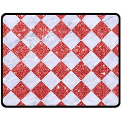 Square2 White Marble & Red Glitter Double Sided Fleece Blanket (medium)  by trendistuff