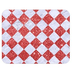 Square2 White Marble & Red Glitter Double Sided Flano Blanket (medium)  by trendistuff
