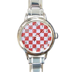Square1 White Marble & Red Glitter Round Italian Charm Watch by trendistuff