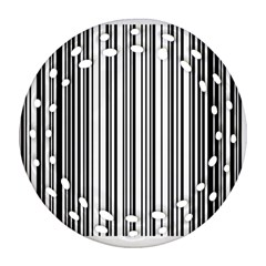 Barcode Pattern Round Filigree Ornament (two Sides) by Sapixe