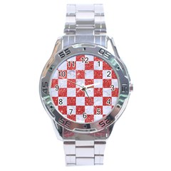 Square1 White Marble & Red Glitter Stainless Steel Analogue Watch by trendistuff