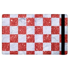 Square1 White Marble & Red Glitter Apple Ipad 3/4 Flip Case by trendistuff