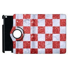 Square1 White Marble & Red Glitter Apple Ipad 2 Flip 360 Case by trendistuff