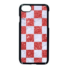 Square1 White Marble & Red Glitter Apple Iphone 7 Seamless Case (black) by trendistuff