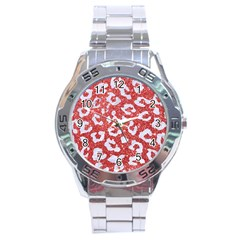 Skin5 White Marble & Red Glitter (r) Stainless Steel Analogue Watch by trendistuff