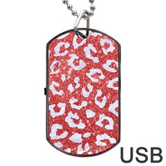 Skin5 White Marble & Red Glitter (r) Dog Tag Usb Flash (one Side) by trendistuff