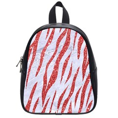 Skin3 White Marble & Red Glitter (r) School Bag (small) by trendistuff