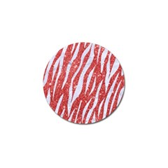 Skin3 White Marble & Red Glitter Golf Ball Marker by trendistuff