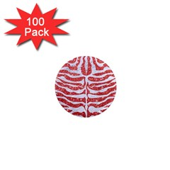Skin2 White Marble & Red Glitter 1  Mini Magnets (100 Pack)  by trendistuff