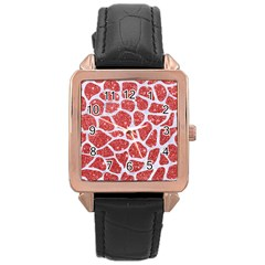Skin1 White Marble & Red Glitter (r) Rose Gold Leather Watch  by trendistuff