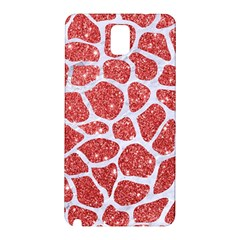 Skin1 White Marble & Red Glitter (r) Samsung Galaxy Note 3 N9005 Hardshell Back Case by trendistuff