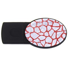 Skin1 White Marble & Red Glitter Usb Flash Drive Oval (2 Gb) by trendistuff