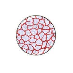 Skin1 White Marble & Red Glitter Hat Clip Ball Marker by trendistuff