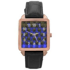 Basket Weave Rose Gold Leather Watch  by Sapixe