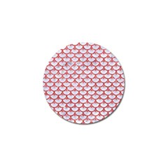 Scales3 White Marble & Red Glitter (r) Golf Ball Marker by trendistuff