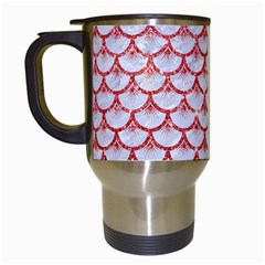 Scales3 White Marble & Red Glitter (r) Travel Mugs (white) by trendistuff