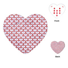 Scales3 White Marble & Red Glitter (r) Playing Cards (heart)  by trendistuff