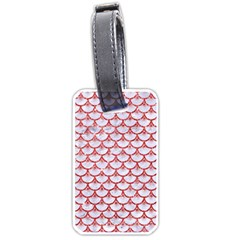 Scales3 White Marble & Red Glitter (r) Luggage Tags (one Side)  by trendistuff