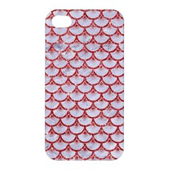 Scales3 White Marble & Red Glitter (r) Apple Iphone 4/4s Premium Hardshell Case by trendistuff