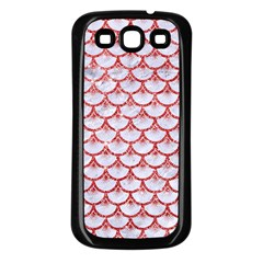 Scales3 White Marble & Red Glitter (r) Samsung Galaxy S3 Back Case (black) by trendistuff