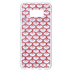 Scales3 White Marble & Red Glitter (r) Samsung Galaxy S8 Plus White Seamless Case by trendistuff