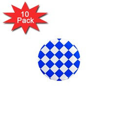 Blue White Diamonds Seamless 1  Mini Magnet (10 Pack)
